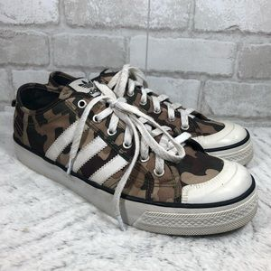 Vintage Adidas Nizza Green Camo Print Sneakers